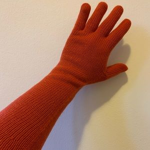 Orange Long Sleeve Knit Gloves